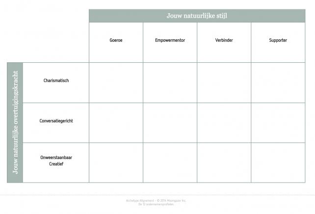 Tabel met de 12 ondernemersprofielen
